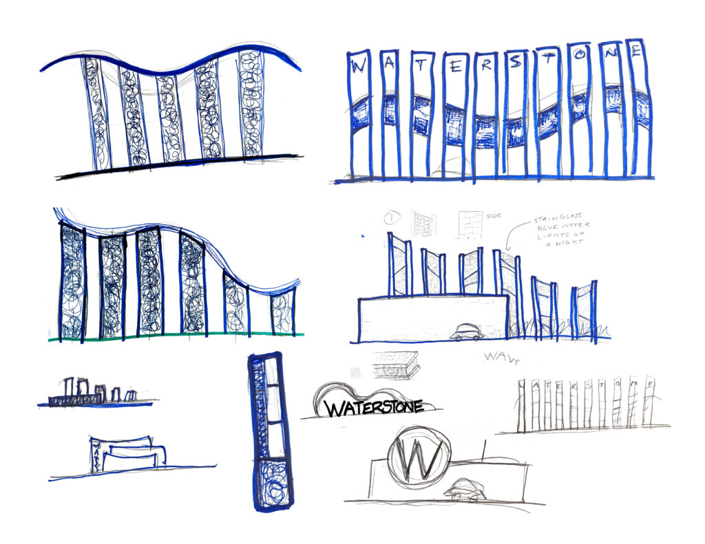 Initial creative concept sketches for Waterstone